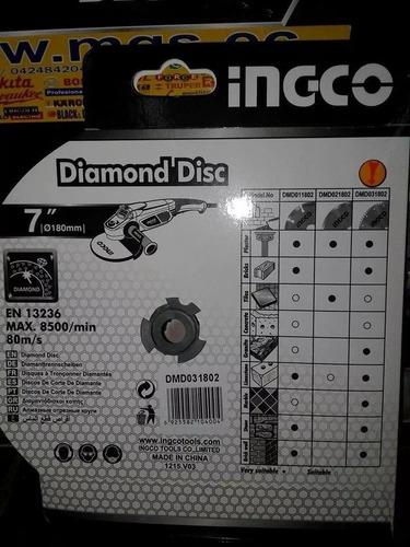 disco diamante turbo 7 profesional marca ingco.