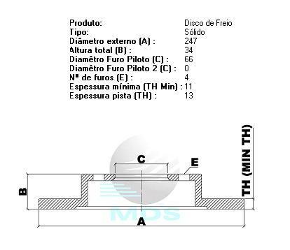 disco dianteiro mds sólido citroën xsara 1.4 97/00 d695b