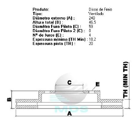 disco dianteiro ventilado mds palio siena fire d44a(par)