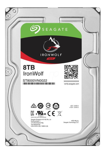 disco duro 8 tb seagate ironwolf st8000vn0022 - 7200 rpm