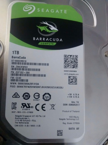 disco duro barracuda sata3, 1tb, 6gb/s, 7200 rpm. garantia