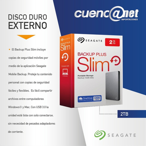 disco duro externo 2tb backup plus slim seagate