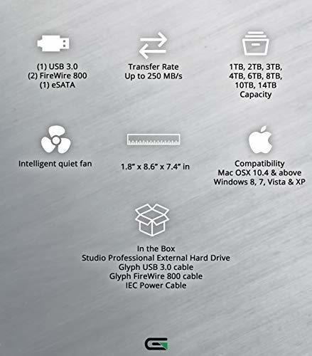 7200RPM, USB 3, FW800 or eSATA Glyph Studio S6000 6TB External Hard Drive