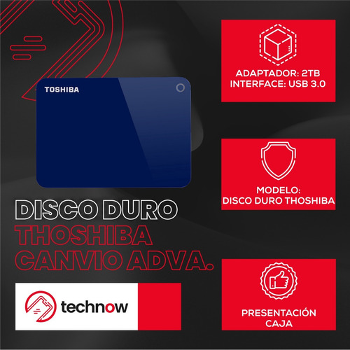disco duro externo toshiba 2tb canvio advance 3.0 - azul