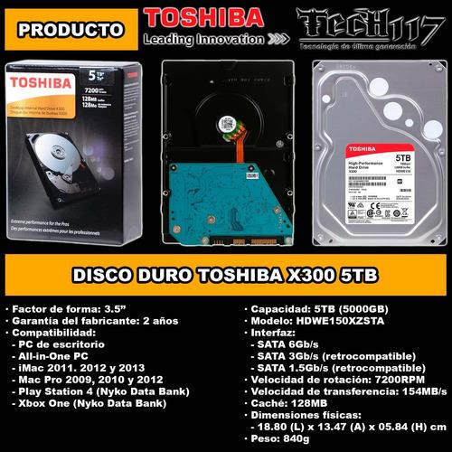 disco duro hdd 3.5'' toshiba x300 5tb sata 6gb/s