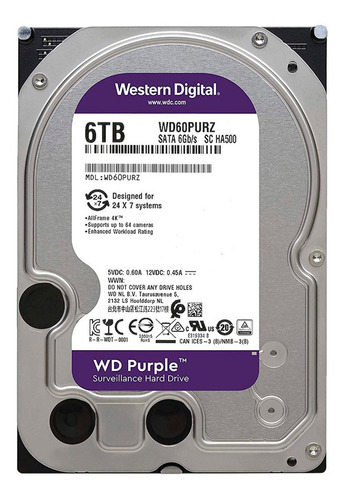 disco duro hdd 3.5 wd purple 6tb 5400rpm 64mb sata 3.0