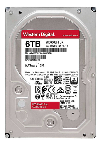 disco duro hdd 3.5 wd red pro 6tb 7200rpm 256mb sata 3.0