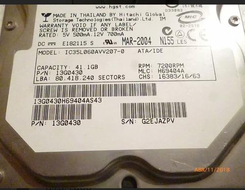 disco duro hitachi 40 gb ide pc