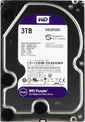 disco duro interno morado 3.5 pulgadas 3 tb video wd