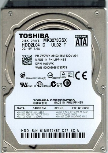disco duro p/portátil toshiba 500gb sata