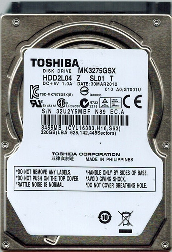 disco duro pull toshiba 320 gb sata laptop 2.5