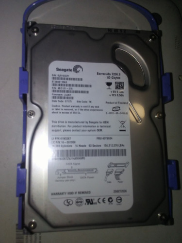 disco duro sata 80gb seagate barracuda para pc excelente