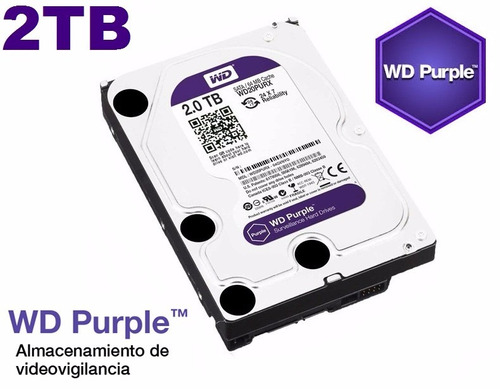 disco duro western digital 2tb sata3 purple 64mb video datos