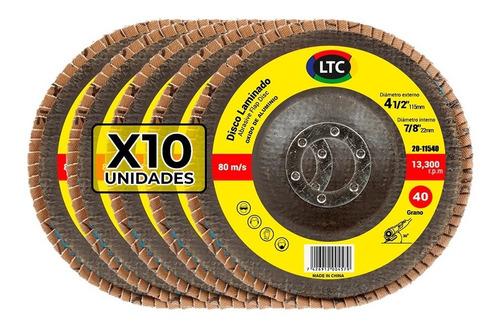 disco flap 115 mm ltc oxido aluminio grano 40 - x10 unidades