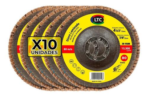 disco flap 115 mm ltc oxido aluminio grano 80 - x10 unidades
