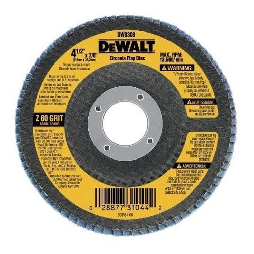 disco flap de lija dewalt dw8308 grano 60 acero inoxidable