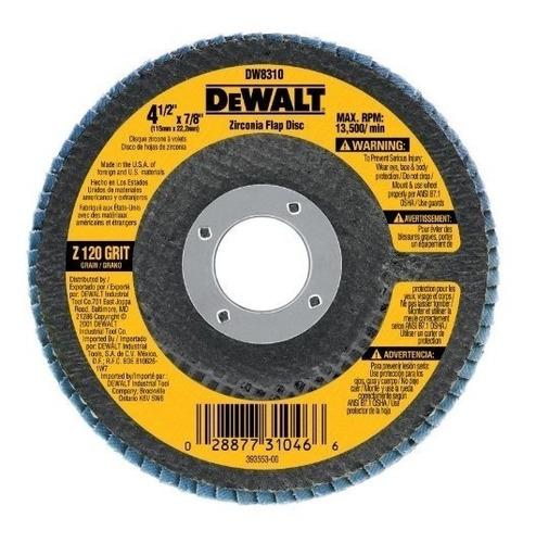 disco flap de lija dewalt dw8310 grano 120  acero inoxidable