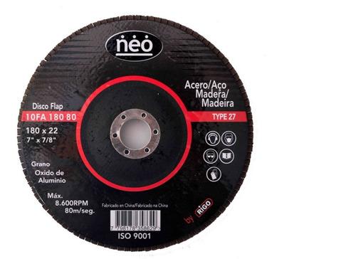 disco flap de lijas 180mm neo 10fa180 acero madera n°40
