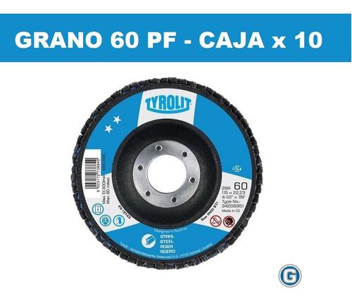 disco flap tyrolit plano fibra 114 mm caja x 10 un gramabi