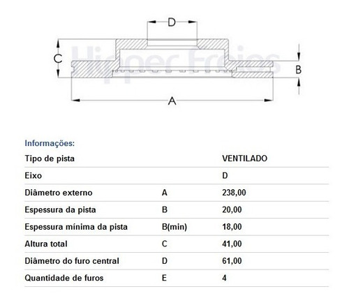 disco freio dianteiro clio 1.0 8v 16v 1.6 hf572
