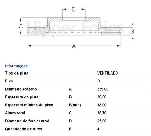 disco freio dianteiro saveiro santana parati tds 83/09 hf02a