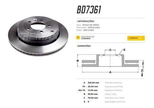 disco freio traseiro land rover discovery 3   2.7  4.0  4.4