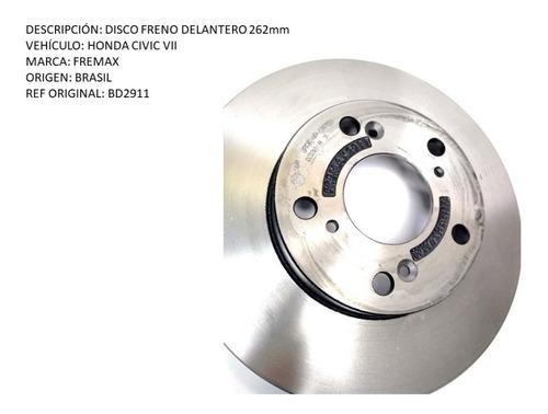 disco freno delantero honda civic vii 262mm