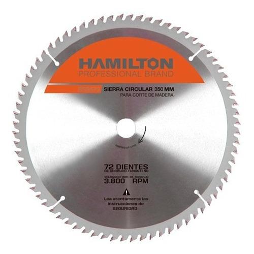 disco ingletadora circular madera 72 dientes 350mm 14pulg hamilton