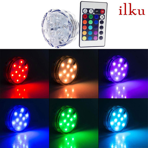 disco led rgb sumergible control remoto 16 colores / ilku
