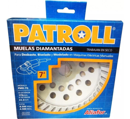 disco muela diamantada amoladora 180 mm patroll  de aliafor