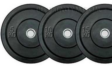 disco olimpico bumper 15kg caucho macizo rebote centro acero