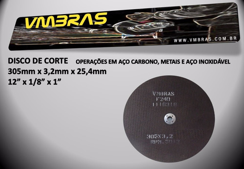 disco para policorte 12x1/8x1pol corta ferro aço kit 15pçs