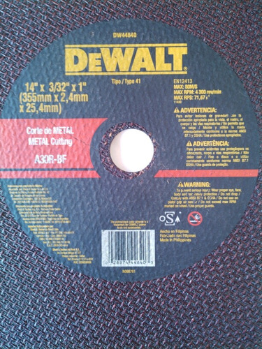 disco para tronzadora 14 dewalt