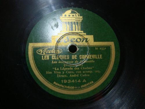 disco pasta 78 rpm sim viva y coro orquesta andre cadou c52