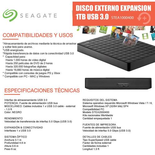 disco portable seagate expansion 1tb 2.5 usb 3.0 negro