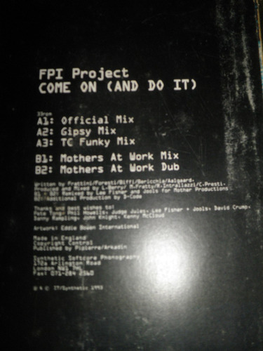 disco remix vinyl importad fpi project - come on (and do it)