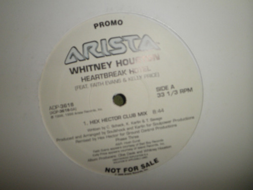 disco remix vinyl whitney houston - heartbreak hotel (1999)