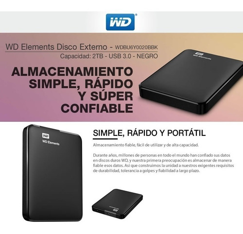 disco rigido externo 2tb wd western digital elements