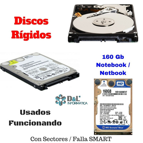 disco rígido notebook 160gb sata2 netbook de ocasión win xp