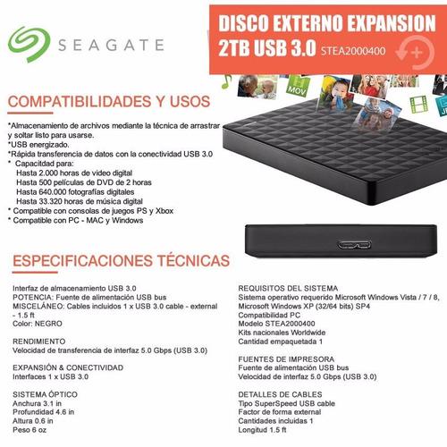 disco rigido seagate externo expansion 2tb usb 3.0 envio!!!