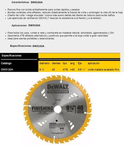 disco sierra circular dewalt 9 1/4 40 dientes dw3132a madera