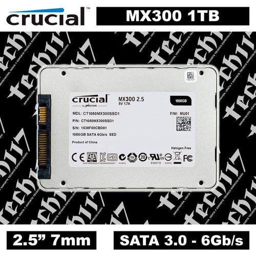 disco sólido ssd 2.5'' 7mm crucial mx300 1tb sata 3.0 6gb/s
