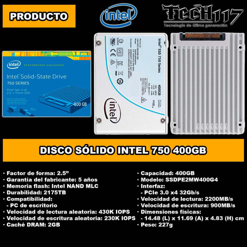 disco sólido ssd 2.5'' intel 750 400gb pcie 3.0 x4