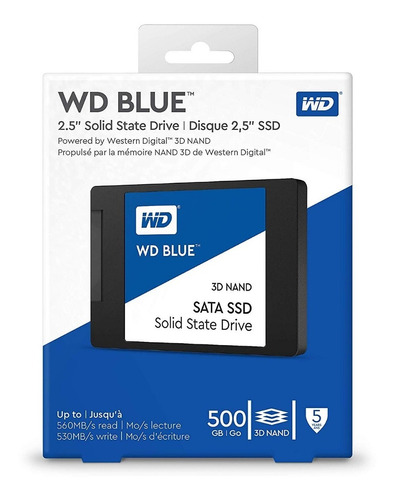 disco sólido ssd 500gb western digital blue 3d nand - 2.5'