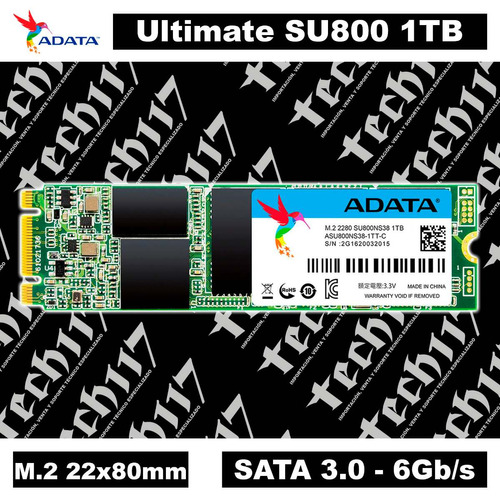 disco sólido ssd m.2 22x80mm adata ultimate su800 1tb sata 3