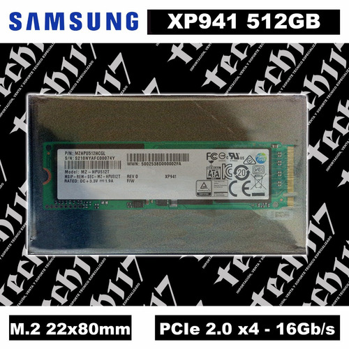 disco sólido ssd m.2 22x80mm samsung xp941 512gb pcie 2.0 x4