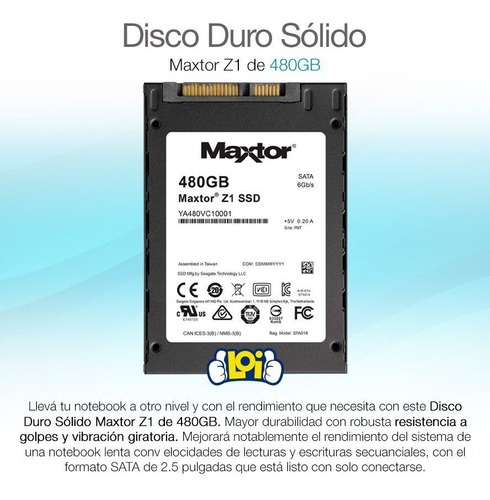 disco sólido ssd maxtor z1 de 480gb oferta loi