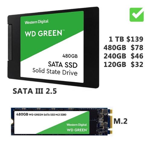 disco sólido ssd sata 2.5 m.2 wd green 120gb 240gb 480gb 1tb