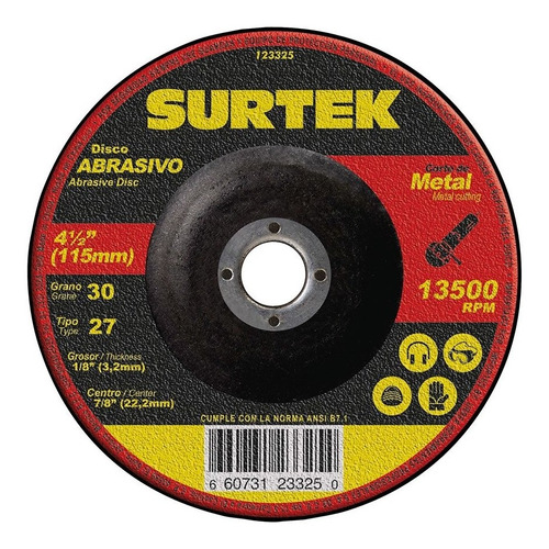 disco t/27 metal 4 1/2 x 1/8 pulgadas 123325 surtek