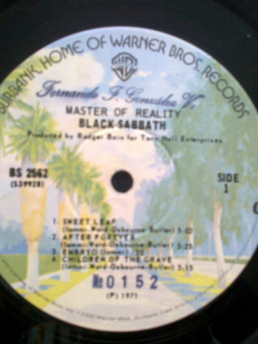 disco vinil lp black sabbath - master of reality - usa 1971